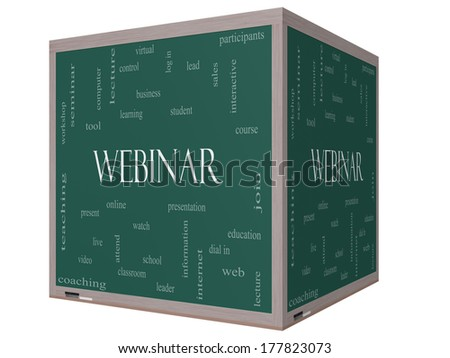 Webinar Word Cloud Concept on a 3D cube Blackboard with great terms such as course, watch, online and more.