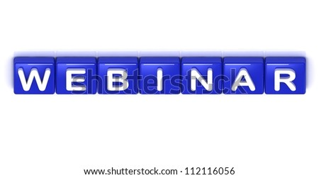 Webinar word on blue cubes on white background