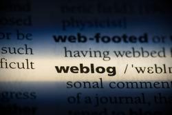 weblog word in a dictionary. weblog concept, definition.