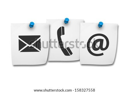 Website and Internet contact us page concept with black icons on paper post it isolated on white background.