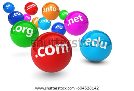 Website and Internet domain name web concept with domains sign on colorful bouncing balls 3D illustration on white background.