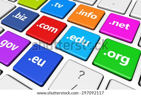 Website and Internet domain names web concept with domains sign and text on colorful computer keys. Stock photo ©