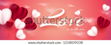 Website banner design decorated with creative paper cut balloons on glossy pink background for Valentines Day celebration.  - Shutterstock ID 1218039238