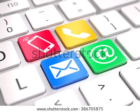 Website contact us concept  - contact buttons on computer keyboard