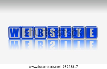 Website - 3d text on white blue boxes