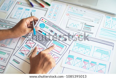 Website designer Creative planning application development  draft sketch drawing template layout framework wireframe design studio . User experience concept . #1085395013
