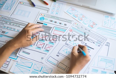 Website designer Creative planning application development  draft sketch drawing template layout framework wireframe design studio . User experience concept . #1094732774