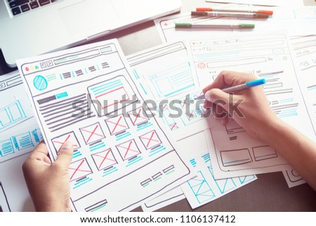 Website designer Creative planning application development  draft sketch drawing template layout framework wireframe design studio . User experience concept . #1106137412