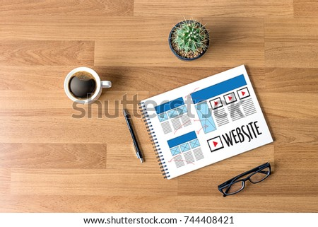 Website designer working layout sketch drawing Software Media WWW and Graphic Layout Website development project #744408421