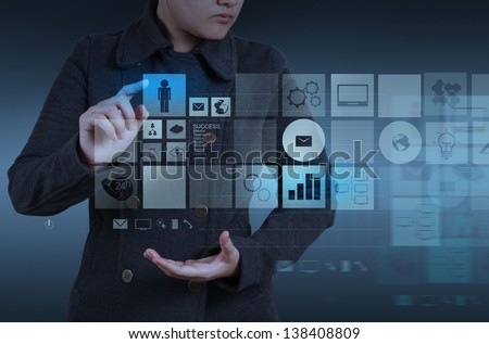 Website designer working with the new computer interface as design concept