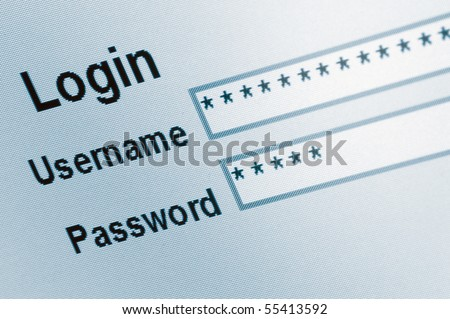 Website Login Screen Macro Capture Pale Blue,