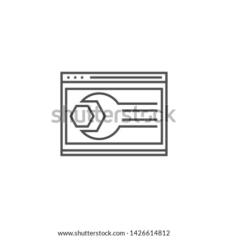 Website Optimization Related Thin Line Icon. Isolated on White Background. Editable Stroke. Illustration.