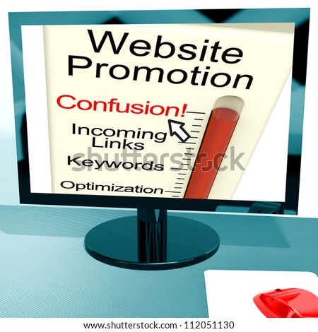 Website Promotion Confusion Showing Online SEO Strategy