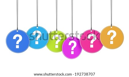 Website, social network and Internet concept with question mark sign and icon on colorful hanged tags on white background.
