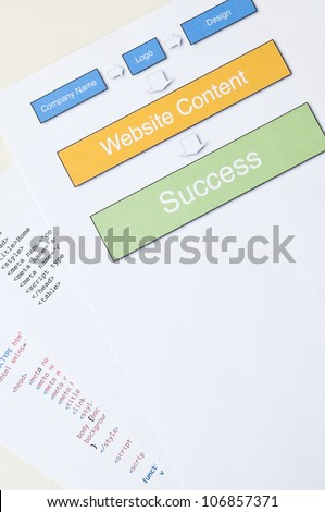 Website success concept with diagram, html and copy space - stock photo