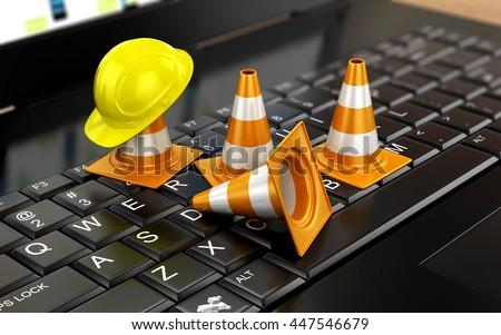 Website under construction with Laptop. 3d illustration