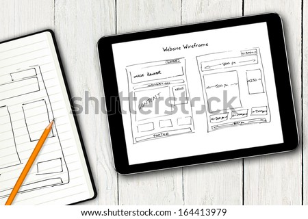 website wireframe sketch on digital tablet screen #164413979