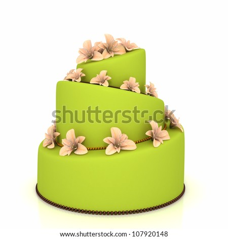 Weddind cake with flowers over white. Computer generated image
