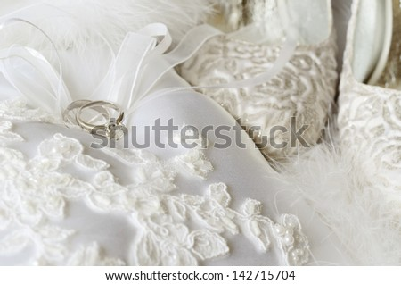 Wedding and engagement rings with bridal accessories