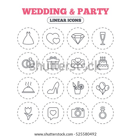 Wedding and party icons. Dress, diamond and rings. Gift box, invitatiom letter and rose flower. Speech bubble with heart and photo camera. Round flat buttons with linear icons.