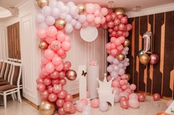 Wedding arch made of colorful inflatable balloons. Celebration of a children's party. arch made with balloons