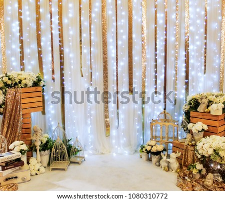 Wedding Backdrop Decorated with Group of Flowers and Fabric Textile  #1080310772