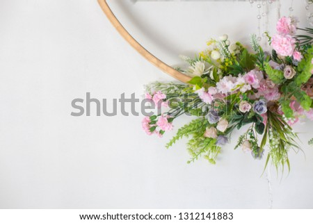 Wedding Backdrop to the beauty of the flower arrangements at the wedding ceremony for Bride and groom,Concept: Valentine's Day celebration for romance colorful love,White stage wallpaper style templat #1312141883