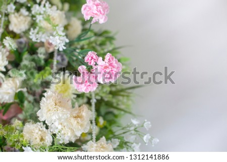 Wedding Backdrop to the beauty of the flower arrangements at the wedding ceremony for Bride and groom,Concept: Valentine's Day celebration for romance colorful love,White stage wallpaper style templat #1312141886