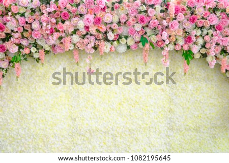 wedding backdrop with flower and decoration #1082195645