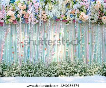 wedding backdrop with flower and decoration #1240356874