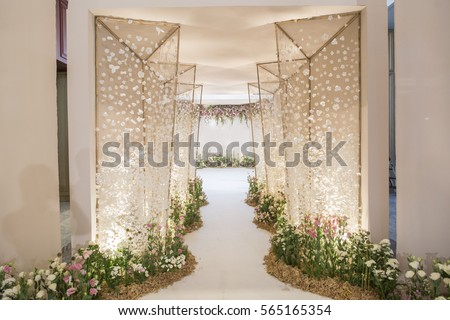 wedding backdrop with flower and wedding decoration #565165354