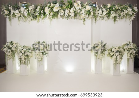 wedding backdrop with flower and wedding decoration #699533923