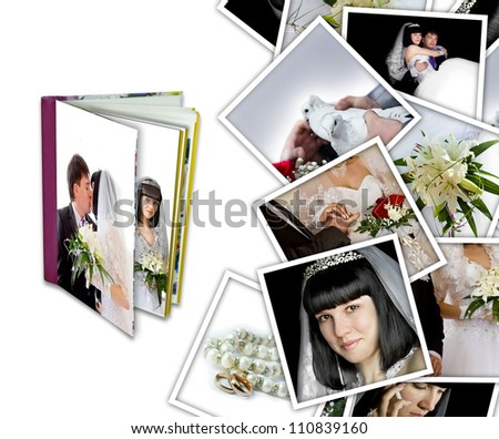 Wedding background with different photos and album