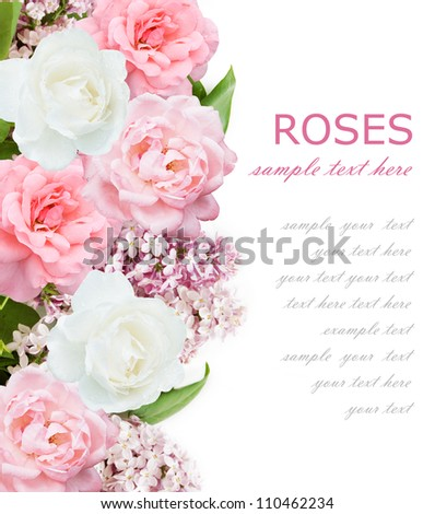 Wedding background with lilac flowers, pink and white roses isolated on white with sample text - stock photo