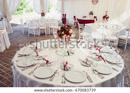Wedding Banquet hall decorated with flowers