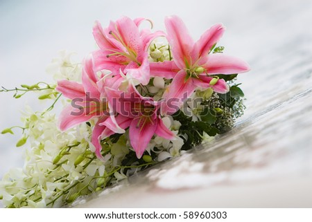 Wedding bouquet at the sea
