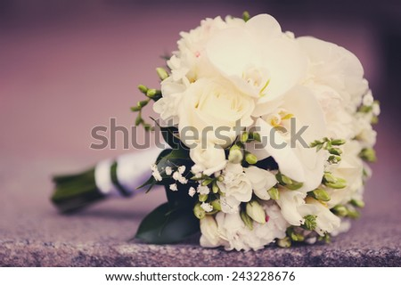 wedding bouquet. bunch of white roses
