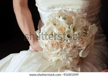 Wedding bouquet in bridal hand