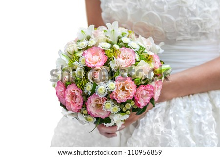 wedding bouquet in hands isolated