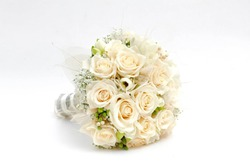 Wedding bouquet made of white roses isolated on a white background