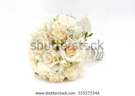 Wedding bouquet made of white roses isolated on a white background #555271546