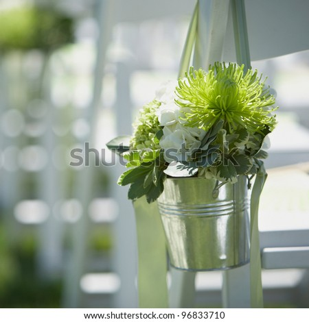 Wedding bouquet of flowers at outside ceremony