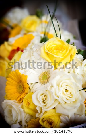 stock photo wedding bouquet of mixed flower arrangement with yellow and