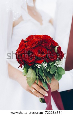 wedding bouquet of roses #723386554