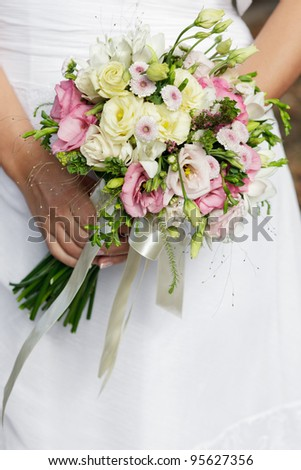 stock photo wedding bouquet of white and pink flowers