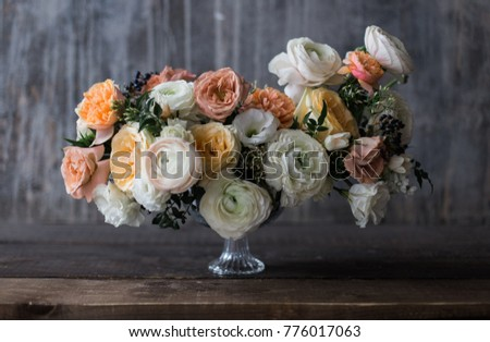 Wedding bouquet ranunculus with silky ribbons