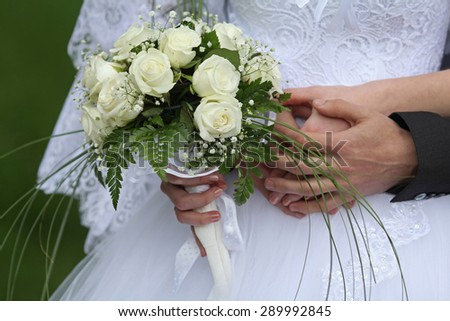 wedding bouquet. Wedding couple holding hands