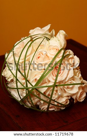 Wedding Bouquet with cream roses and pearly beads