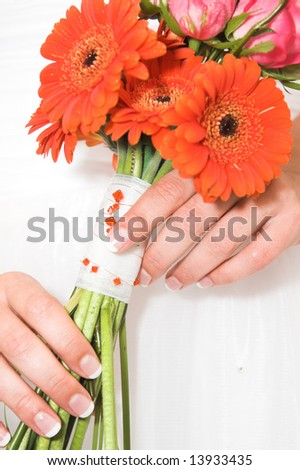 Wedding Bouquet with pink roses and orange beads - stock photo
