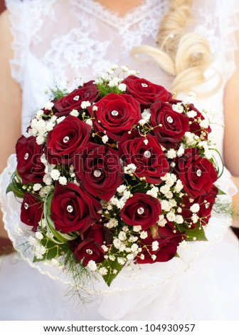 Rose Bouquet Wedding on Stock Photo   Wedding Bouquet With Red Roses In The Bride          S
